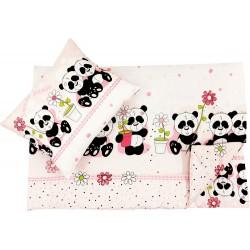 Lenjerie pat copii ursuletu panda roz