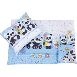 Lenjerie pat copii masinute crem
