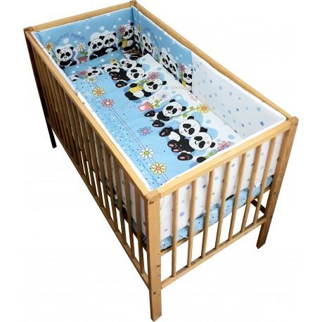 Lenjerie patut bebe cu 5 piese  ursuletul panda albastru