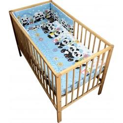 Lenjerie patut bebe cu 4 piese ursuletul panda albastru