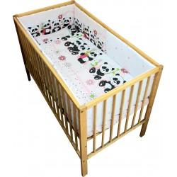 Lenjerie patut bebe cu 5 piese  ursuletul panda roz