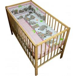 Lenjerie patut bebe cu 4 piese elefantii veseli roz