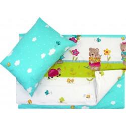 Lenjerie pat copii ursuletul gradinar turcoaz