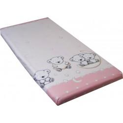 Cearceaf cu elastic ursuletul pe semiluna roz