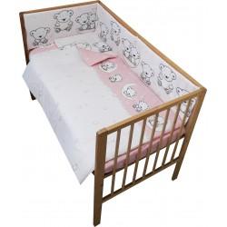 Lenjerie patut bebe cu 4 piese ursuletul pe semiluna roz
