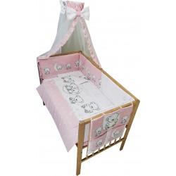 Lenjerie patut bebe cu 7 piese ursuletul pe semiluna roz