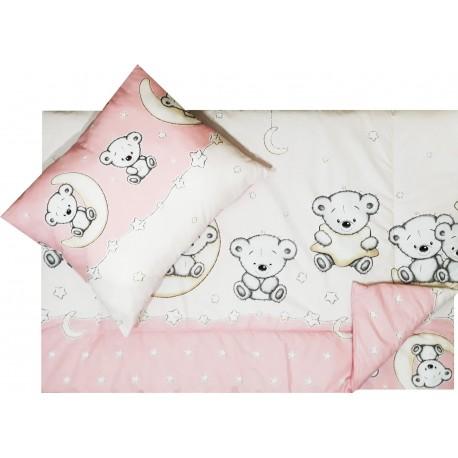 Lenjerie pat copii elefanteii veseli roz