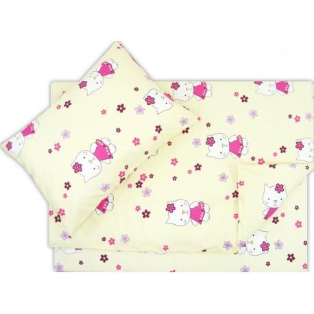Lenjerie pat copii pisica cu floricica