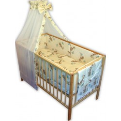 Lenjerie patut bebe cu 7 piese girafa
