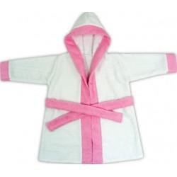 Halat de baie pentru copii alb cu roz