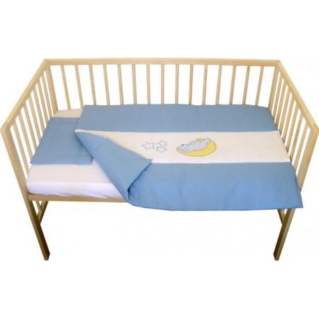 Lenjerie patut bebe cu broderie 3 piese albastru