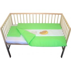 Lenjerie patut bebe cu broderie 3 piese verde