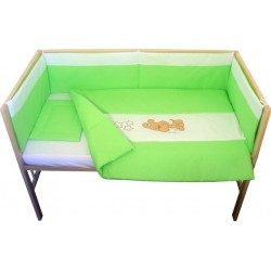 Lenjerie patut bebe brodat cu 5 piese verde