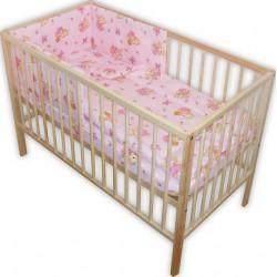 Lenjerie patut bebe cu 4 piese ursuletul cu miere roz
