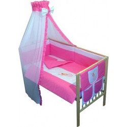 Lenjerie patut bebe brodat cu 7 piese roz