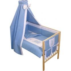 Lenjerie patut bebe brodat cu 7 piese albastru A