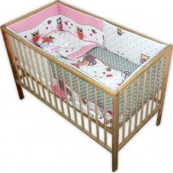 Lenjerie patut bebe cu 5 piese  bufnita roz