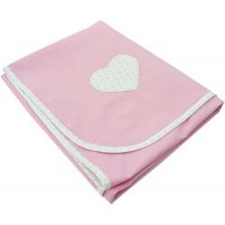 Paturica din bumbac roz inima