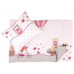 Lenjerie pat copii bufnite roz